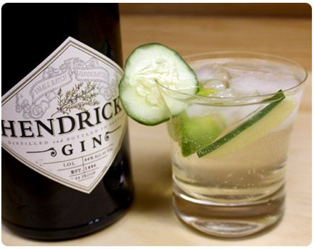Hendrick's Gin - my go-to! mix with soda water and topped with twists of lemon, lime, & orange