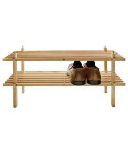 Argos Value Range 2 Shelf Shoe Storage Rack - Solid Pine.