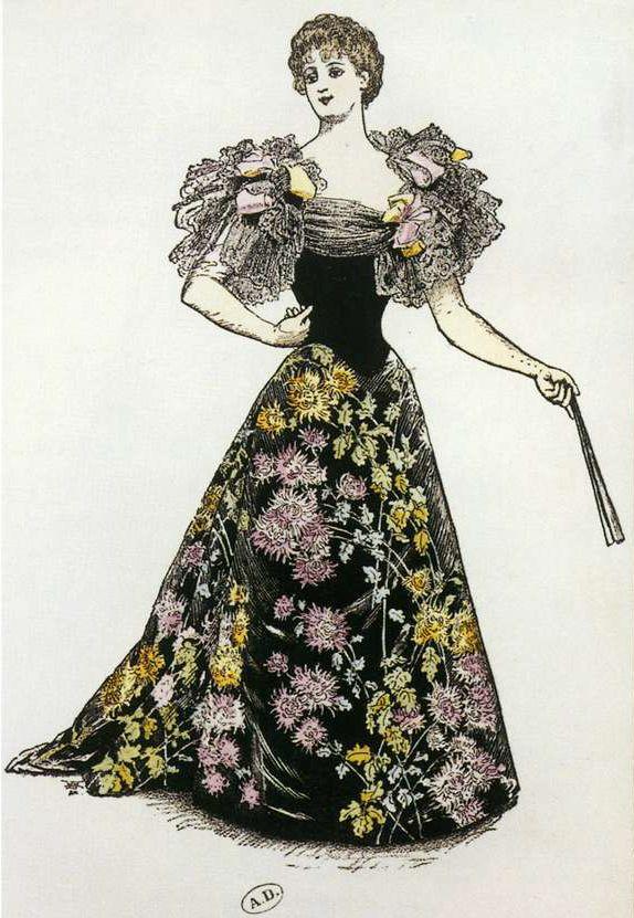Дизайн вечернего платья от Ворта на листовке Всемирной выставки, 1892.