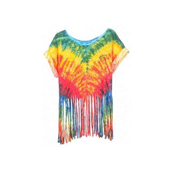 Rokit Recycled Multi-Coloured Tie-Dye Fringed T-Shirt - Vintage... ❤ liked on Polyvore featuring tops, t-shirts, shirts, crop tops, vintage tee-shirt, tie die t shirt, crop top, tee-shirt and tie dye crop top