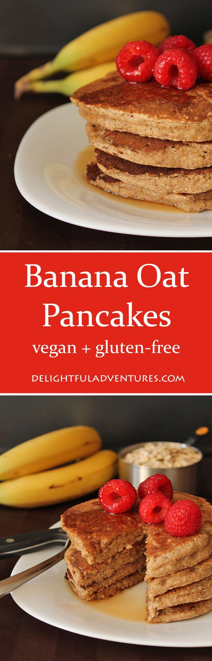 These easy vegan, gluten-free, banana oat pancakes will become your new favourite weekend breakfast.