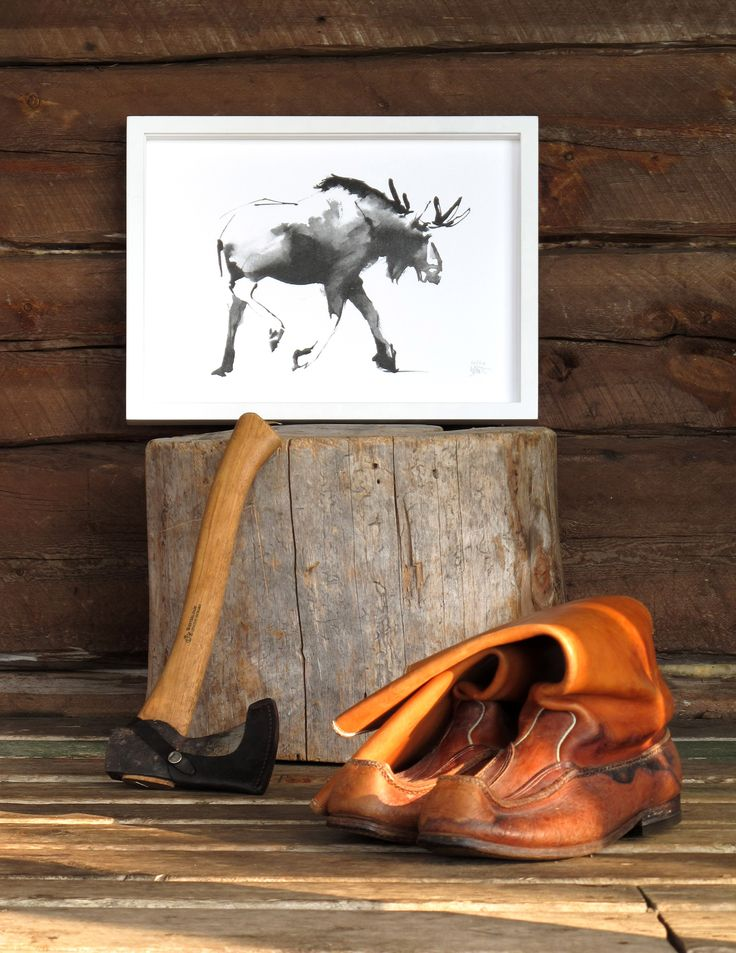 Moose Fine Art Print on Paper Teemu Järvi Illustrations http://www.teemujarvi.com/en/shop/paper-prints/73-moose.html