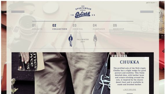 Enjoying the navigation and opacity used on Goliath Sportswear's website