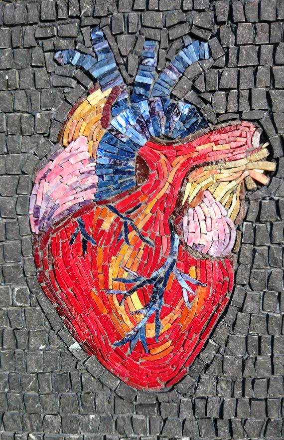Original Anatomical Heart Framed Mosaic por NicholeAubreyMosaics