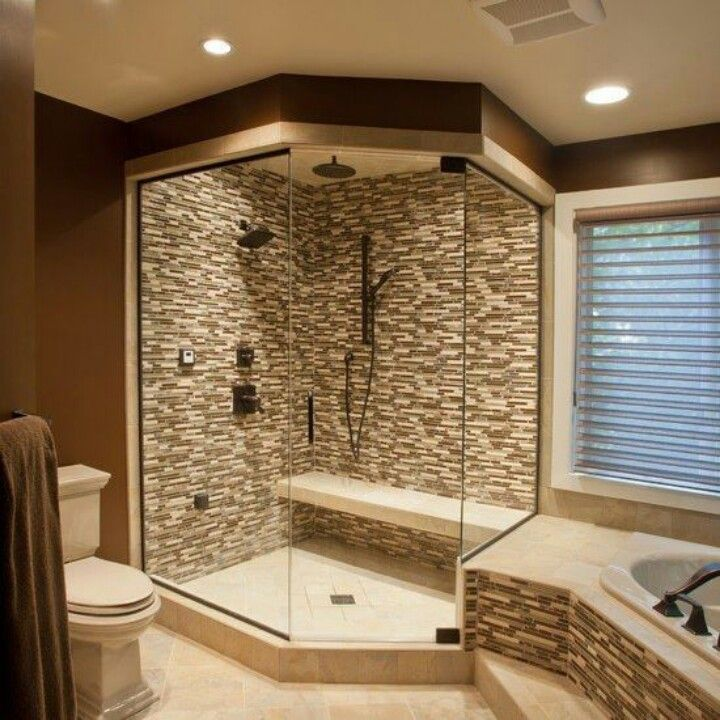 Corner walk in shower idea master bath home decorating for Bathroom designs with corner bath