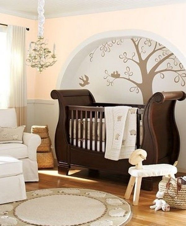 13 Luxurious Nursery Bedroom Design Ideas | Kidsomania I LOVEEEEE this entire look.. the tree with the chandelier is a cool idea and the crib is just gorgeous