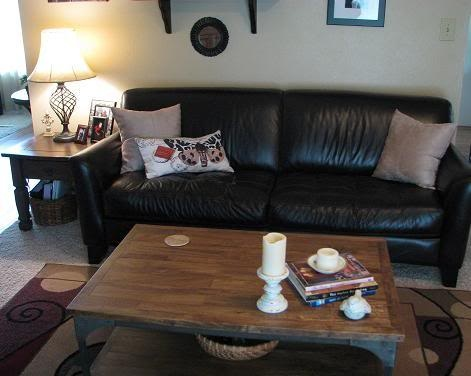My dark brown leather couch with light stitching.