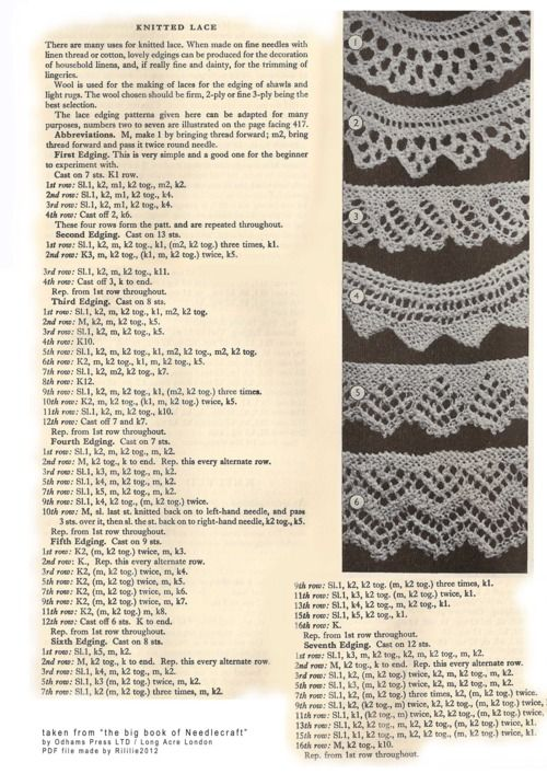 72 Best images about Needlework-Knitting-Edgings on ...