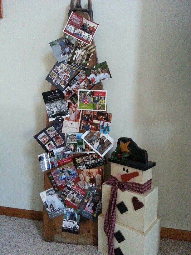 repurposed wood ironing boards | Old wooden ironing board...makes a great Christmas card display!
