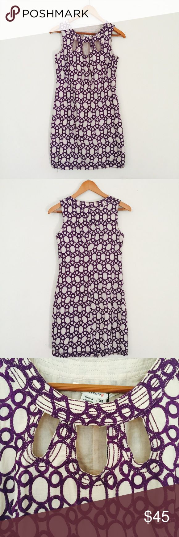 """Studio M Size XS Geometrical Embroidered Dress Beautiful cocktail dress! A subtle off white color with a purple embroidered pattern. A cut out pattern around the neck adds a modern edge to this classic style. Wear it with your favorite pair of Steve Madden heels and J. Crew statement necklace for an elegant and chic look. Perfect for a girls night out dinner or any formal event.   Measurements:  Length- 32.5"""" Pit to pit- 16.25"""" Shoulder-12.5""""  Material: 100% Cotton Studio M Dresses Mini"""