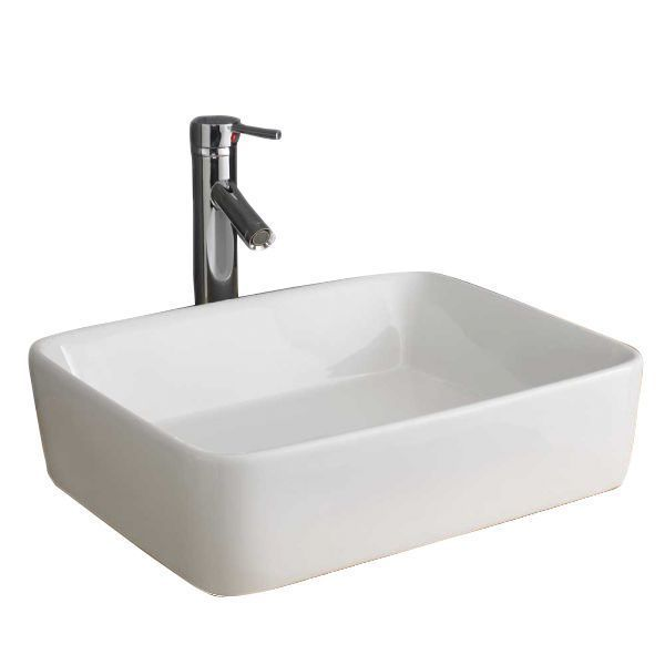 bathroom Sink Freestanding – White Large Rectangle…