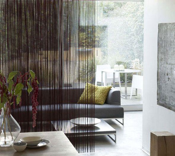fringed fabric room divider - layer with chiffon - linen - chiffon