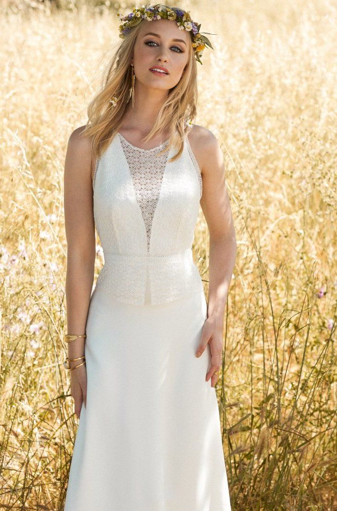 Rembo styling — 2017 Collection — Freedom: Lace and chiffon dress with lace…