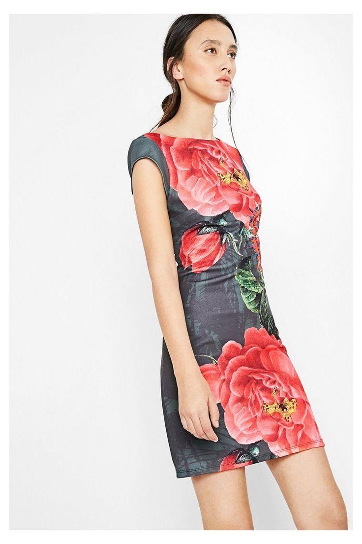 Groene jurk met korte mouwen, voor vrouwen Sharyky | Desigual.com 4000