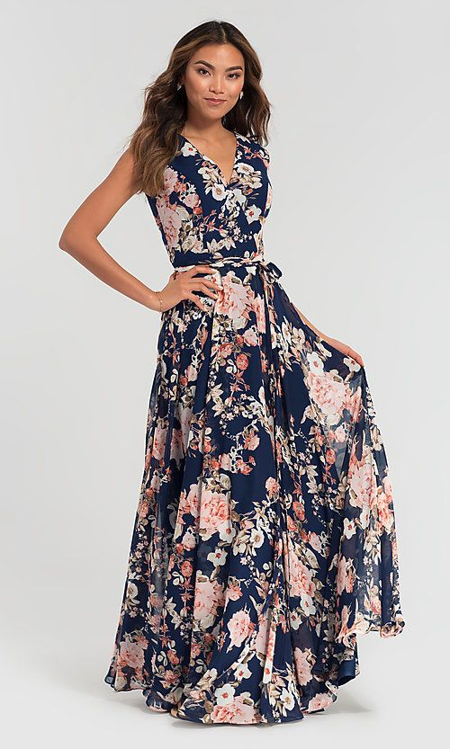 9e40f3f3319 Image of floral-print Kleinfeld long chiffon bridesmaid dress. Style   KL-200084 Front Image