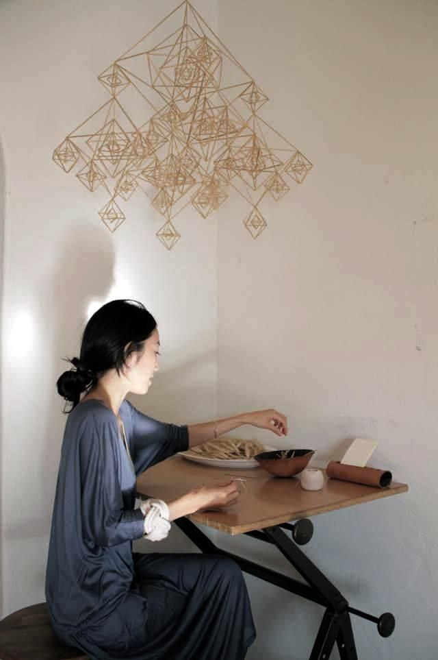 LA-based designer Momo Suzuki creates a himmeli mobile. Photograph by Jeana Sohn of Closet Visit.