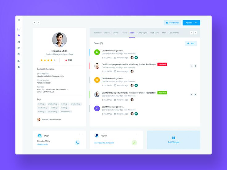 Hi guys, Another shot from the Agile CRM project. This is a Customer profile page consisting of multiple customer-related contents separated in tabs. Here you can have your user data on the left...
