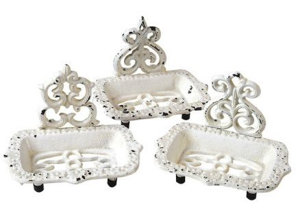 """These Victorian cast iron lovelies will add old world charm to the bathroom or kitchen while allowing your favorite soap to air dry so that it will last and last. 5""""L"""