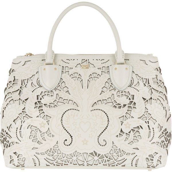 Class Cavalli Handle Bag - Stardust Medium Tote Offwhite - in white -... (8,245 MXN) ❤ liked on Polyvore featuring bags, handbags, tote bags, white, leather purses, zippered leather tote, white leather tote, white leather handbags and white leather tote bag