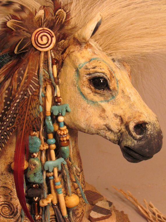 Spirit Horse Totem with Turquoise by MishasArt
