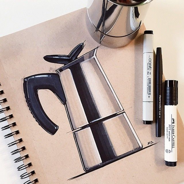 Bialetti Moka espresso no.2 #bialetti #moka #espresso #italy #ID #idsketching #industrialdesign #productdesign #sketch #sketching #Sketchaday #diseñoindustrial #drawing #design