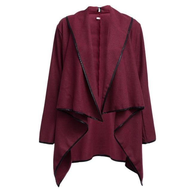 Autumn Winter Trench Coat Women Irregular Collar Lapel Side Zipper Woolen Coat Women Loose Sweater Outwear Plus Size wine M