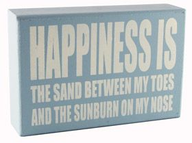 Wall plaque with quote happiness is the sand between my toes and the sunburn on my nose