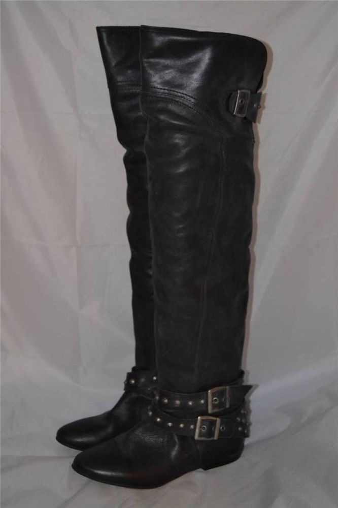 BLACK LEATHER RIVER ISLAND STUDDED RIDING STYLE OVER THE KNEE BOOTS UK 4 EUR 37