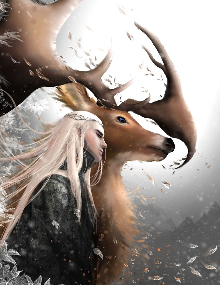 Thranduil and his Irish Elk, as I've learned it's called. It still looks like a moose to me, though. (NMC! Irish elk - megalocerous sp - had palmate antlers and didn't have droopy noses.) But I love the artwork.