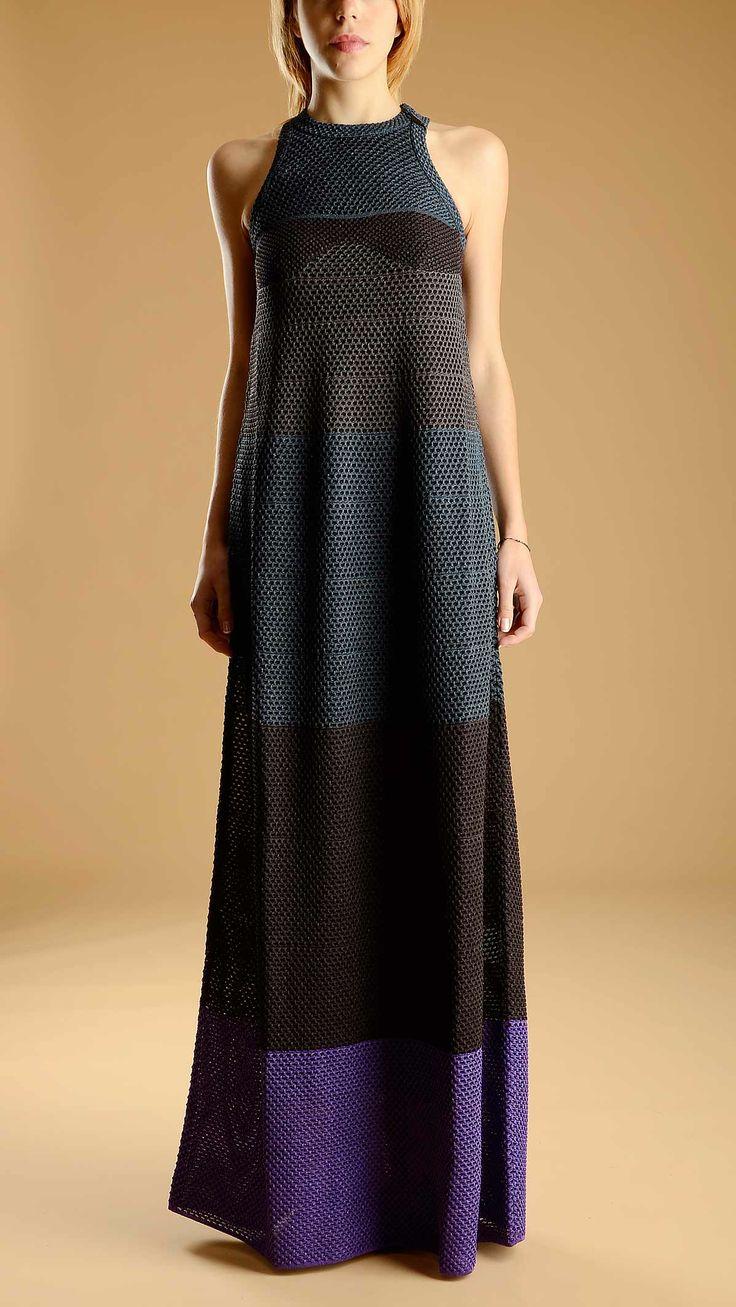 Sleeveless crew neck laminated multicolour block knit maxi dress.