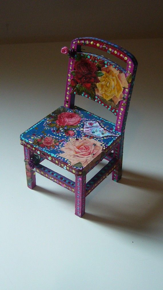 Too Pretty To Sit On OOAK Mini Handpainted Chair Pink Red And Blue