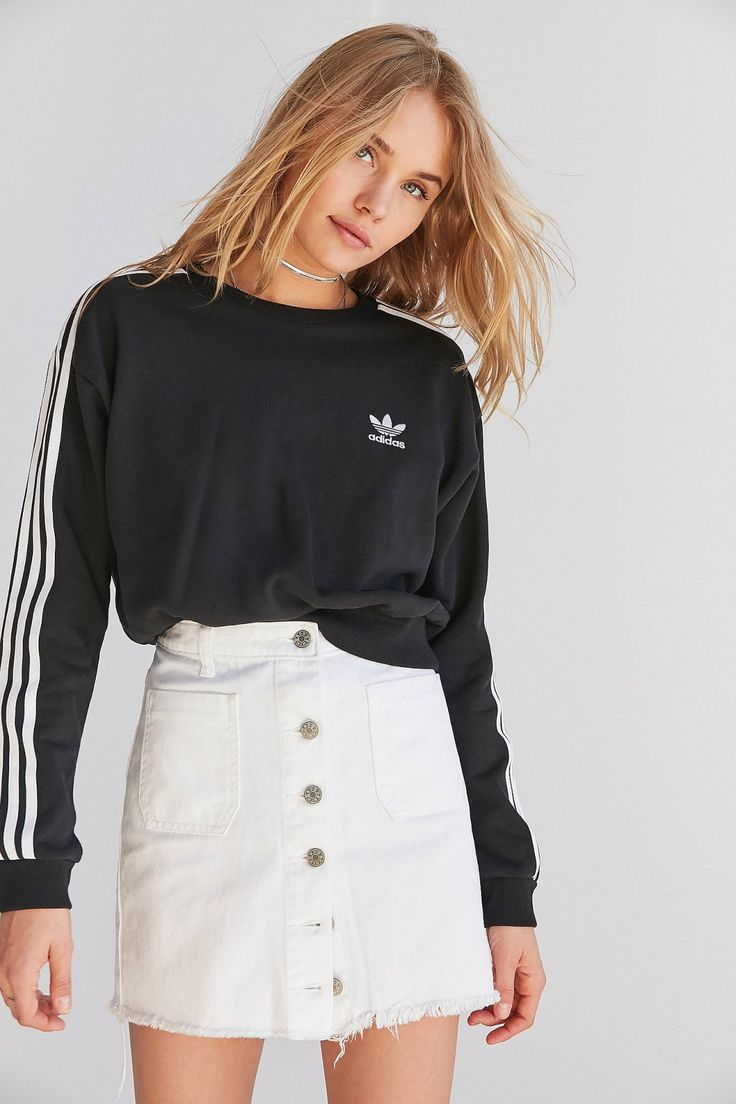 adidas Originals 3 Stripe Cropped Sweatshirt   Urban Outfitters
