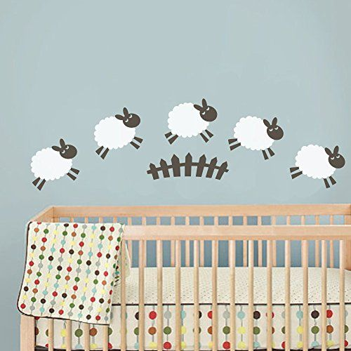 MairGwall Nusery Counting Sheep Wall Decal Vinyl Art Stic...