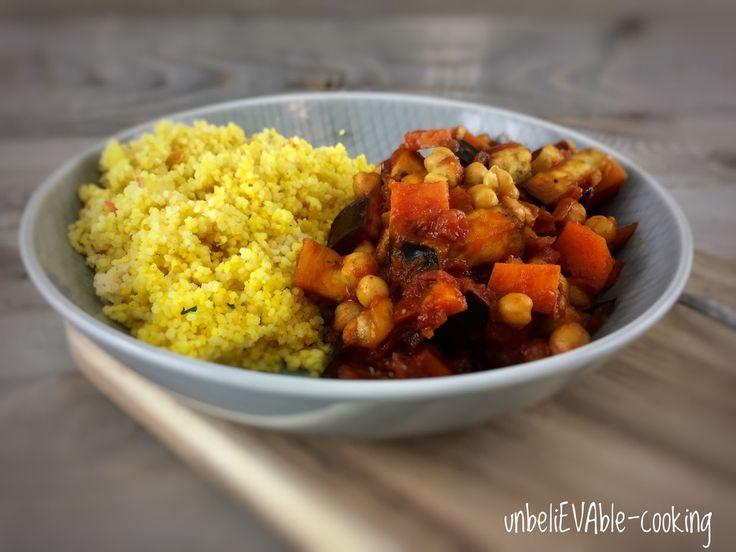 Kurkuma-Cous-Cous mit Kichererbsen, Auberginen und Süßkartoffeln