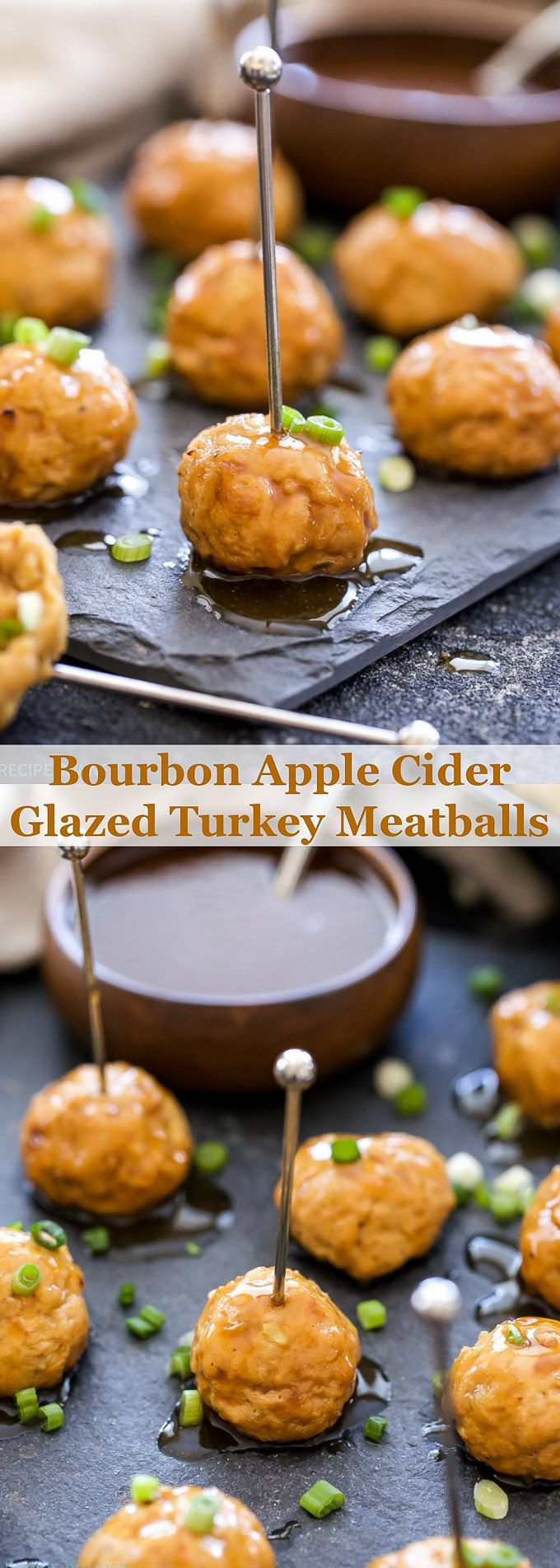 Apple cider makes a delicious sweet and savory glaze on these Bourbon Apple Cider Glazed Turkey Meatballs! They're a highly addicting appetizer or delicious weeknight dinner!