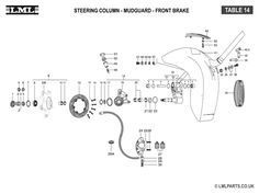 (14) STEERING COLUMN MUDGUARD - FRONT HUB -CALIPER ASSY - Tasso LML Scooter Spare Parts