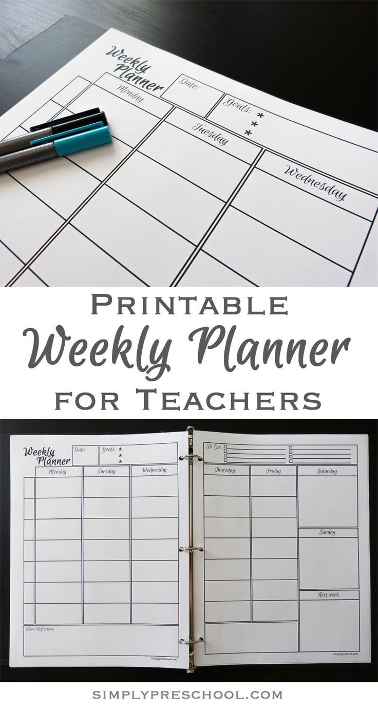 Printable Weekly Lesson Planner – Simply Preschool
