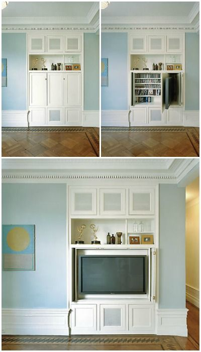 This designer solution is brilliant! A built-in TV cupboard, with the TV on a swivel mount and media storage behind! (swivel hidden tv : James Wagman)