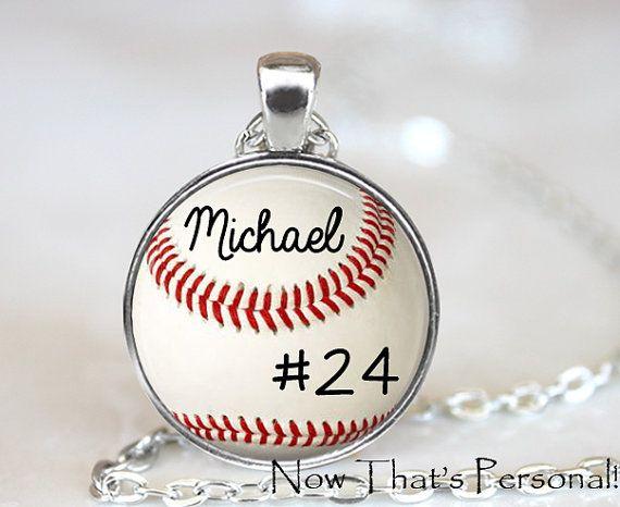 CUSTOM BASEBALL PENDANT - custom softball pendant - Your child's name and number - baseball - baseball mom - baseball  necklace on Etsy, $15.95