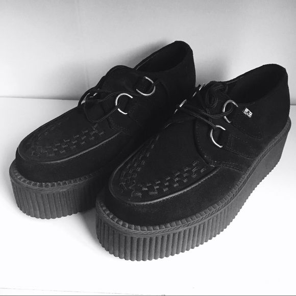 TUK Black Creepers TUK black creepers; women's size 5.5 (men's 4) they've hardly been worn as you can see by the soles. Like new condition! Creepers Shoes Platforms
