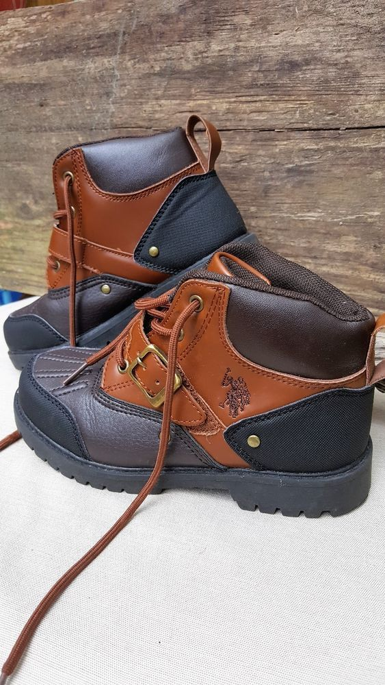 Boys U.S. Polo Association Brown and Black Synthetic Ankle Boots, Sz 2 #PoloAssociation #Boots
