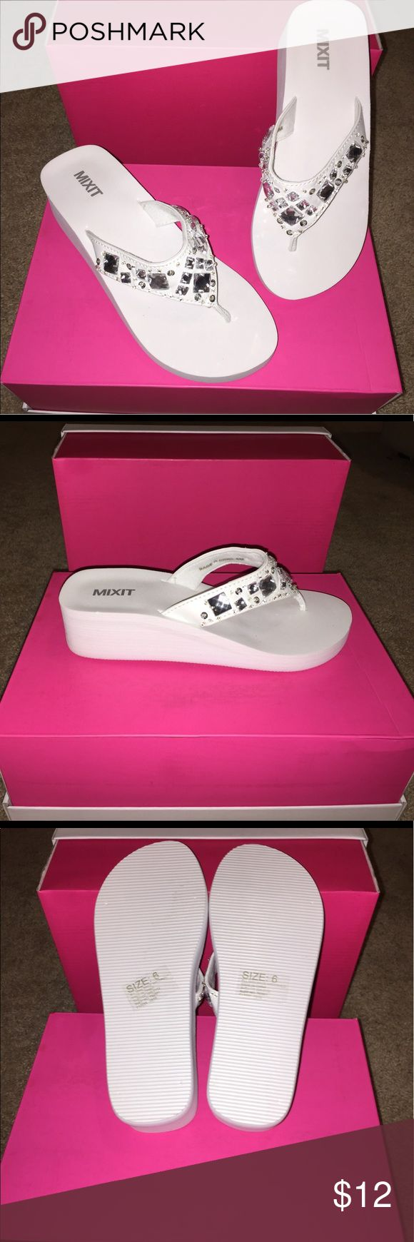NEVER WORN sparkling white sandals 💍 MIXIT brand white wedge flip flops 👣 Shoes Sandals