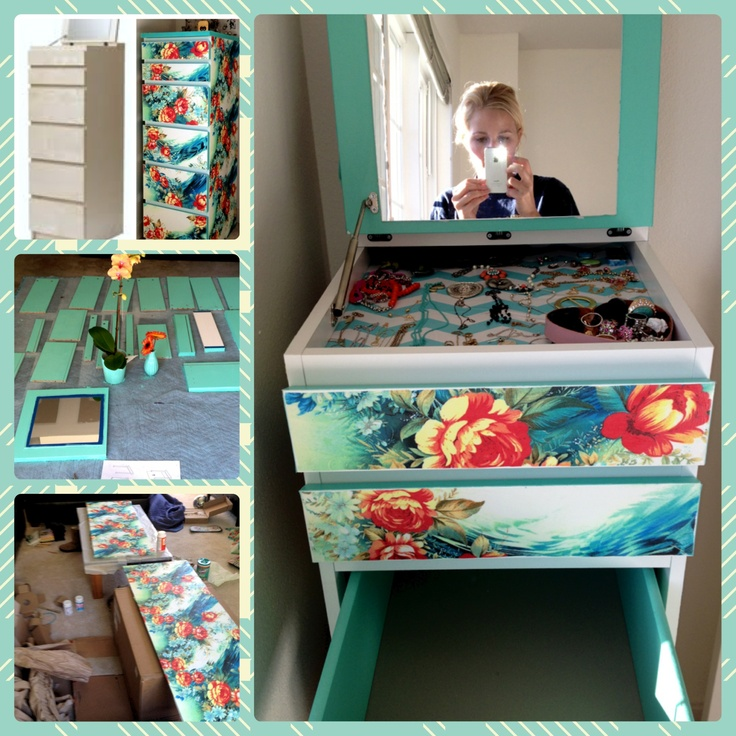 Diy decoupage white ikea malm table painted the insides for Fabric drawers ikea expedit