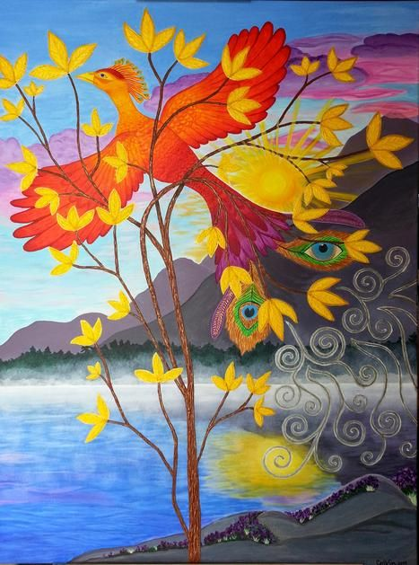 """Phoenix Rising to New Life,"" acrylic, 30"" x 40"".                         Sold print on fineartamerica.com"