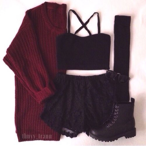 Black Top And Maroon Sweater With Black Boots