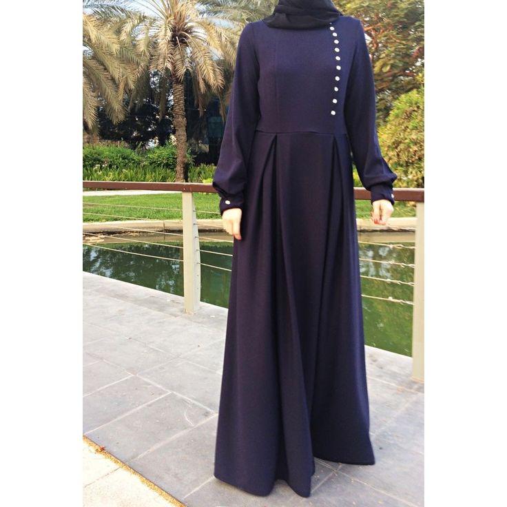 Double Pleats Maxi Dress - Navy Blue-Dress, Abaya-Lana Lik Clothing