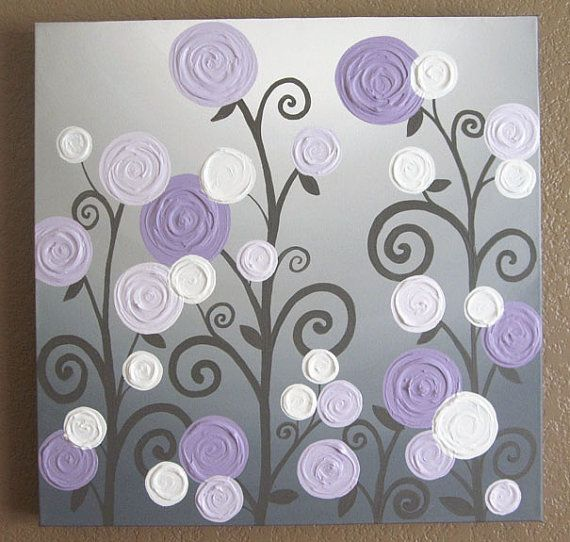 """Lavender and Grey Textured Nursery Art, Original Painting on Canvas, 20x20"""" READY TO SHIP"""