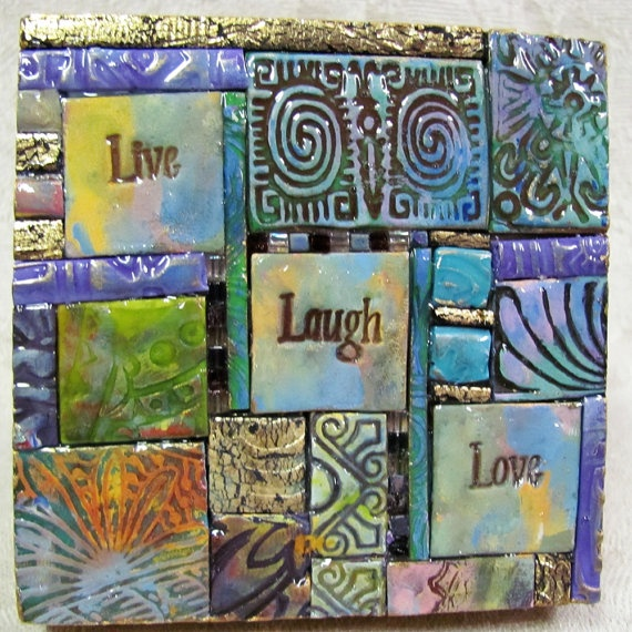 Live Laugh Love Polymer Clay Tile Mosiac by ashpaints on Etsy, $12.00