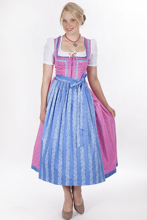 Long Dirndl Laura pink light blue chamois