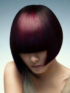 black with subtle pink/purple bangs
